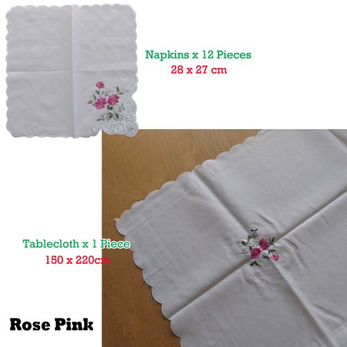 Budget Type Embroidered White Table Cloth + 12 Matching Napkins