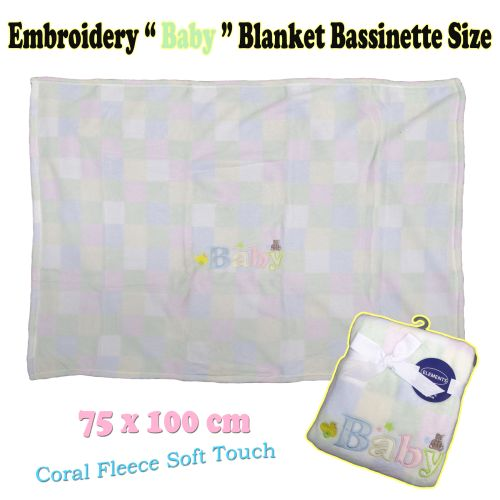 Embroidery Baby Coral Fleece Blanket Bassinette Size by Elements