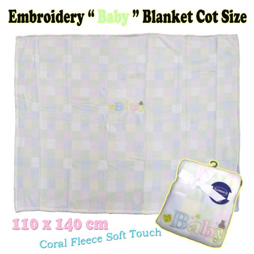 Embroidery Baby Coral Fleece Blanket Cot Size by Elements