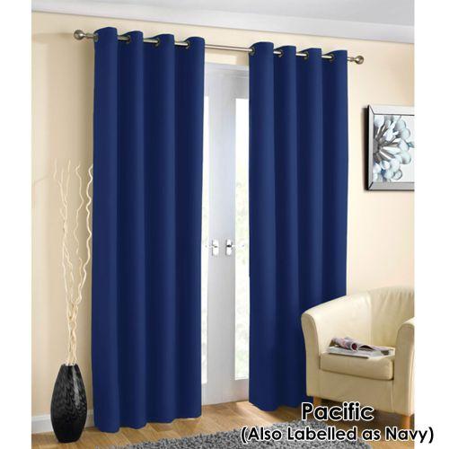 Pair of Blockout Plain Eyelet Curtains 140 x 213cm