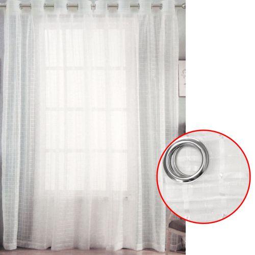 Pair of White Checkered Eyelet Sheer Curtains 140 x 223 cm