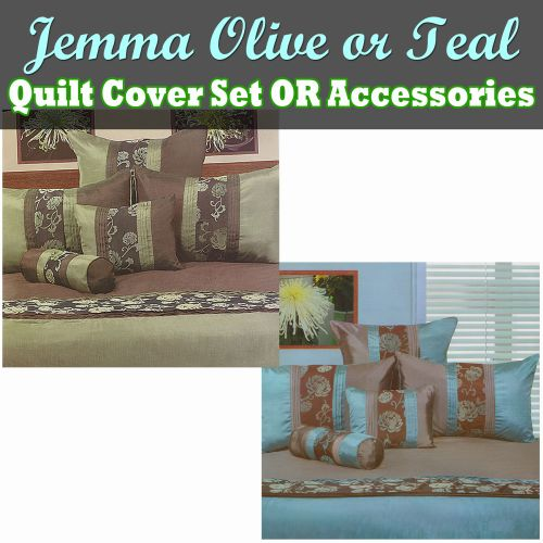 Jemma Olive or Teal Quilt Cover Set by Phase 2