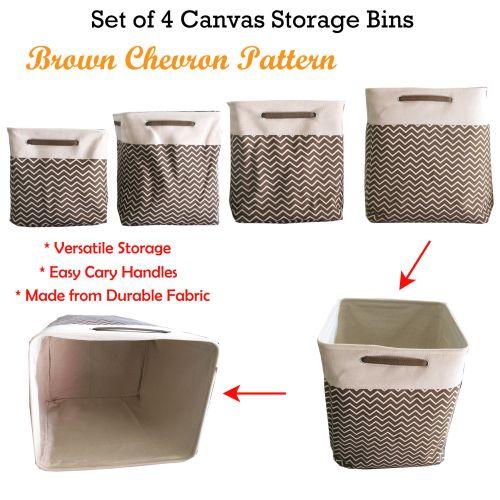 Set of 4 Canvas Storage Bins Brown Chevron