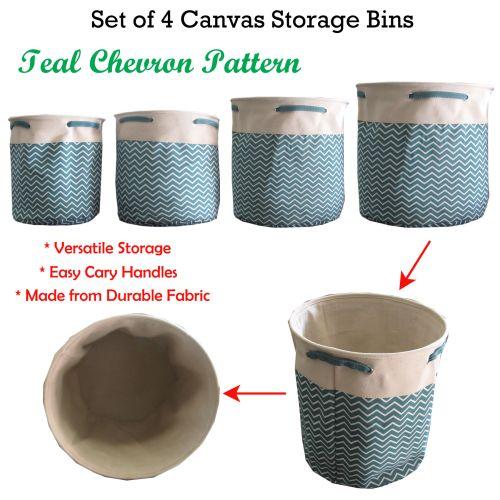 Set of 4 Canvas Storage Bins Teal Chevron Round