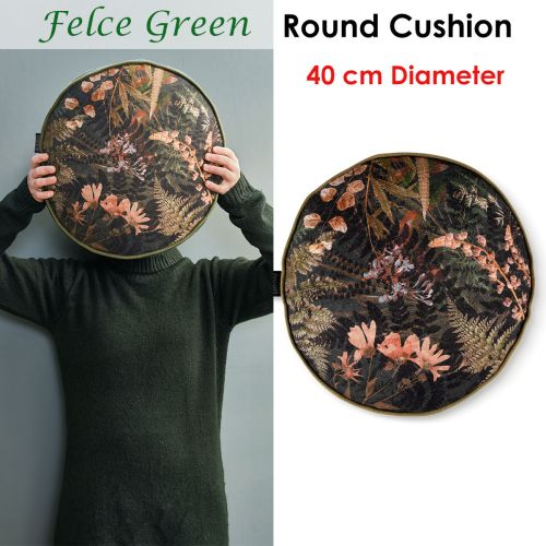 Felce Green Filled Round Cushion by Bedding House