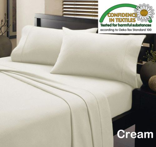 Micro Flannelette Sheet Set Cream by Kingtex