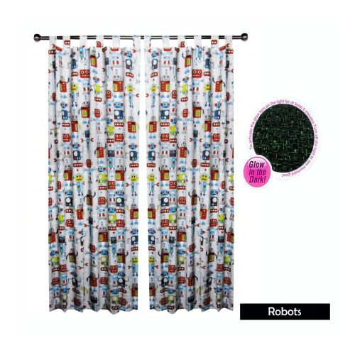 Glow In The Dark Kids Tab Top Curtains by Happy Kids