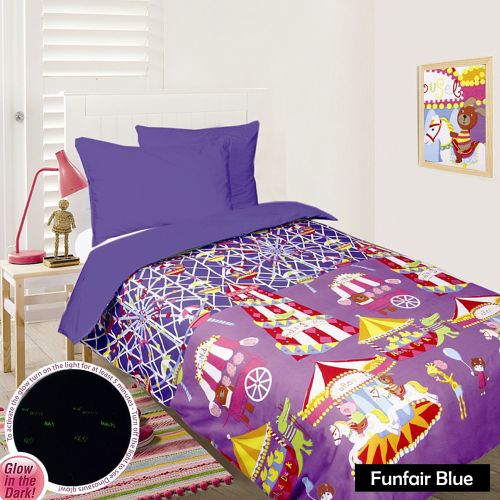 Glow In The Dark Quilt Cover Set - Funfair Blue