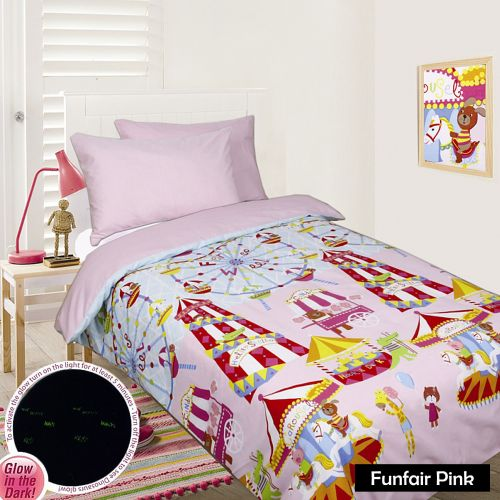 Glow In The Dark Quilt Cover Set - Funfair Pink