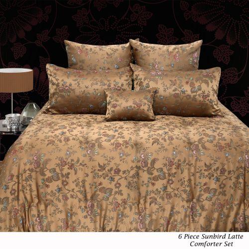 6 Piece Sunbird Latte Comforter Set Queen by Grand Aterlier