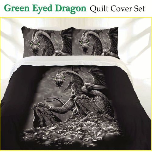 Green Eyed Dragon Quilt Cover Set by Just Home