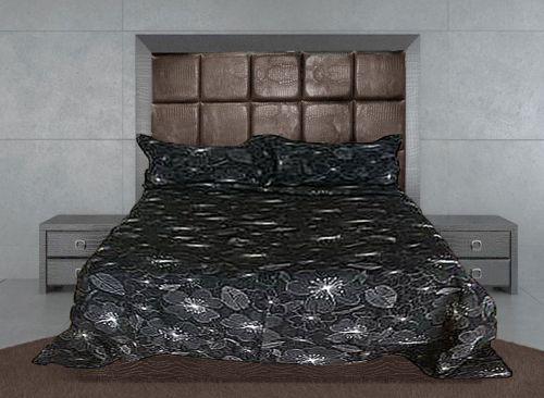 Hibiscus Black Bedspread Set by Bianca