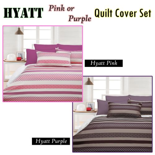 300TC Hyatt Quilt Cover Set Pink or Purple by Accessorize