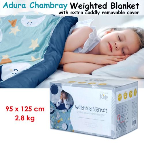 Adura Chambray Kids Weighted Blanket with Extra Cuddly Removable Cover 2.8kg 95 x 125 cm by Jelly Bean Kids