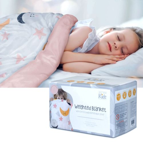 Adura Pink Kids Weighted Blanket with Extra Cuddly Removable Cover 2.8kg 95 x 125 cm by Jelly Bean Kids