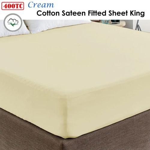 400TC Cream 100% Cotton Sateen Fitted Sheet King 40cm Wall