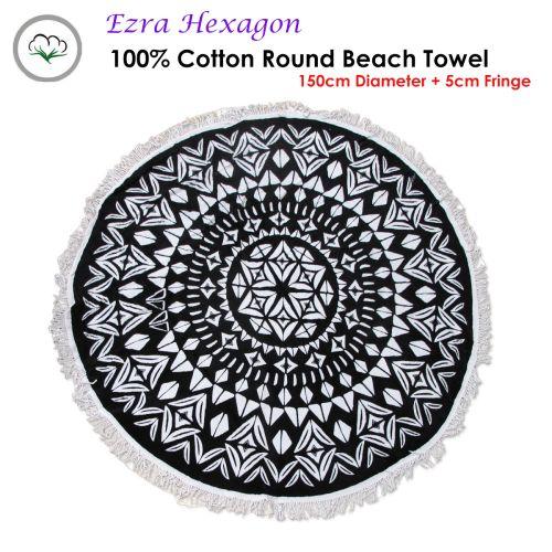 Ezra Hexagon 100% Cotton Round Beach Towel 150cm Diameter + 5cm Fringe