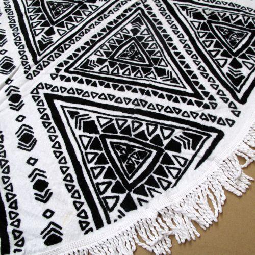 Zulu Triangle 100% Cotton Round Beach Towel 150cm Diameter + 5cm Fringe