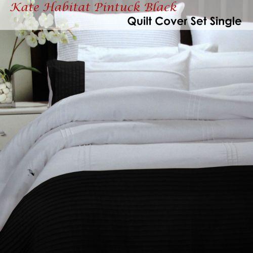 Pintuck Black Quilt Cover Set Single