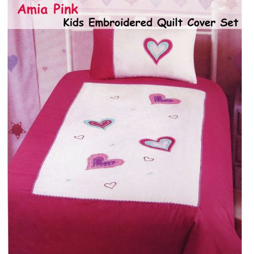 Amia Hearts Embroidered Quilt Cover Set Single