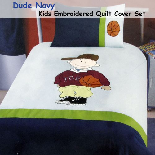 Dude Football Embroidered Quilt Cover Set Single