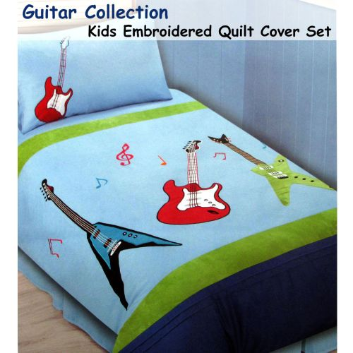 Guitar Collection Embroidered Quilt Cover Set Single