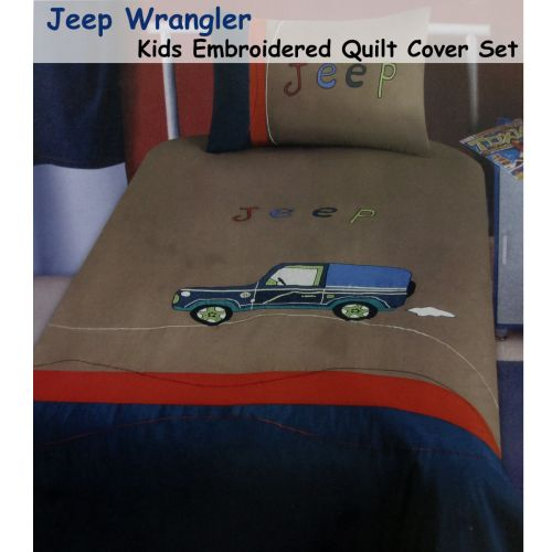 Jeep Wrangler Collection Embroidered Quilt Cover Set Single