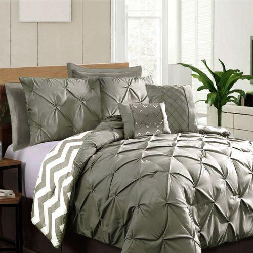 7 Piece Pinch Pleat Comforter Set Grey by Ramesses