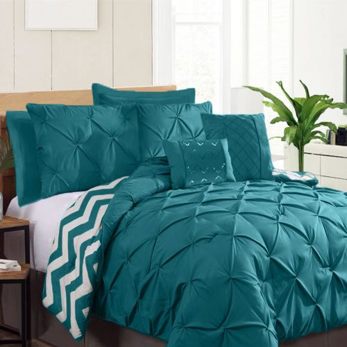 7 Piece Pinch Pleat Comforter Set Teal by Ramesses
