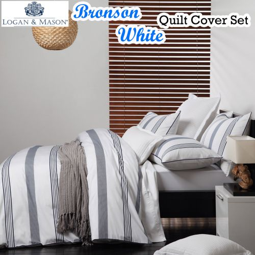 Bronson White Quilt Cover Set by Logan & Mason