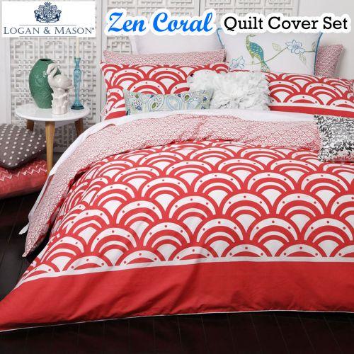 Zen Coral Quilt Cover Set by Logan & Mason