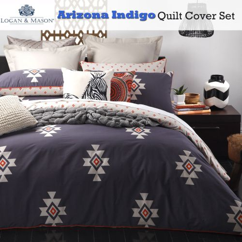 Arizona Indigo Quilt Cover Set by Logan & Mason