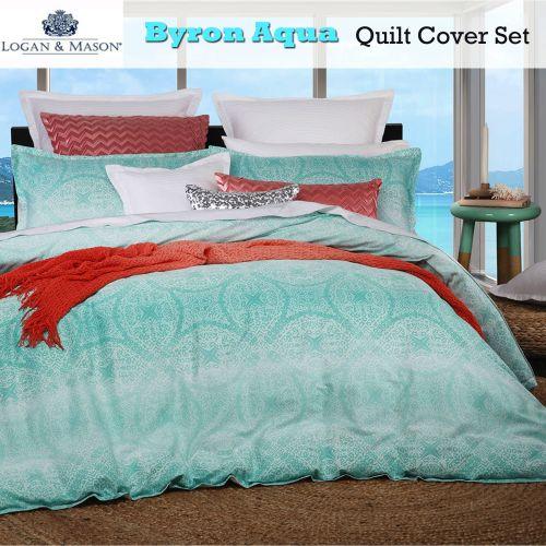 Byron Aqua Quilt Cover Set Queen by Logan & Mason