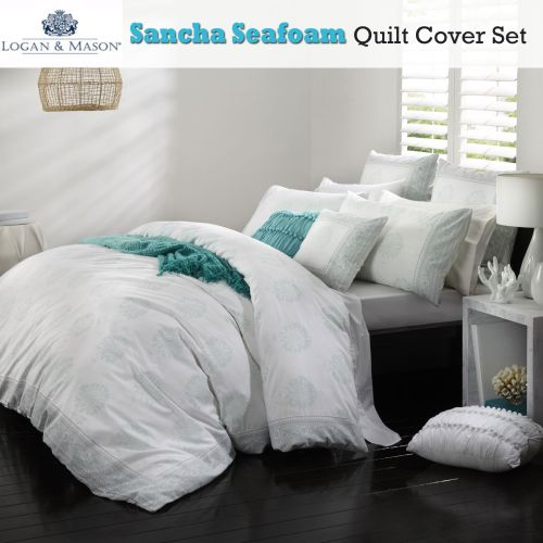 Sancha Seafoam Quilt Cover Set by Logan & Mason