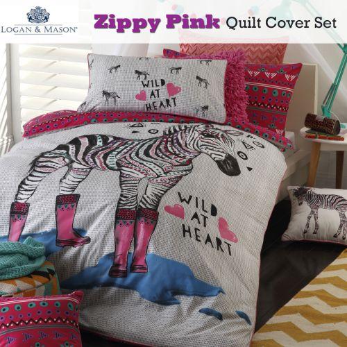 Zippy Pink Quilt Cover Set by Logan & Mason