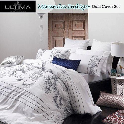 Miranda Indigo Quilt Cover Set by Ultima