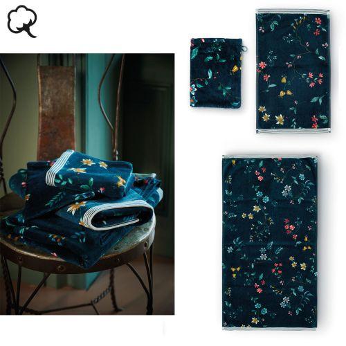 Les Fleurs Dark Blue Towel or Wash Mitt by PIP Studio