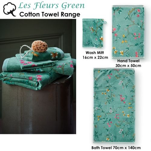 Les Fleurs Green Towel or Wash Mitt by PIP Studio