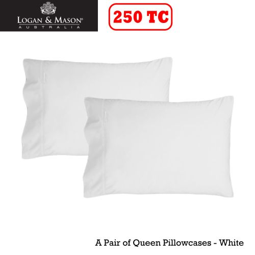 A Pair of 250tc Queen Pillowcases Fit Bamboo Pillows by Logan & Mason