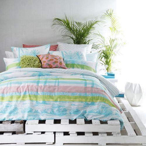 Palms Aqua Quilt Cover Set by Ltd.