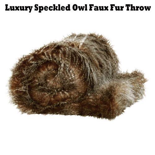 Luxury Speckled Owl Faux Fur Throw 125 x 150cm by IDC Homewares