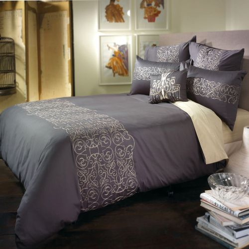 Maddox Charcoal Quilt Cover Set by Bianca