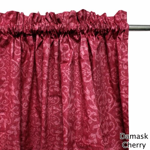 One Pair of Polyester Cotton Rod Pocket Damask Curtains
