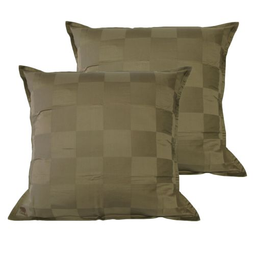 Pair of Dominic Olive European Pillowcases by Chameleon Bedwear