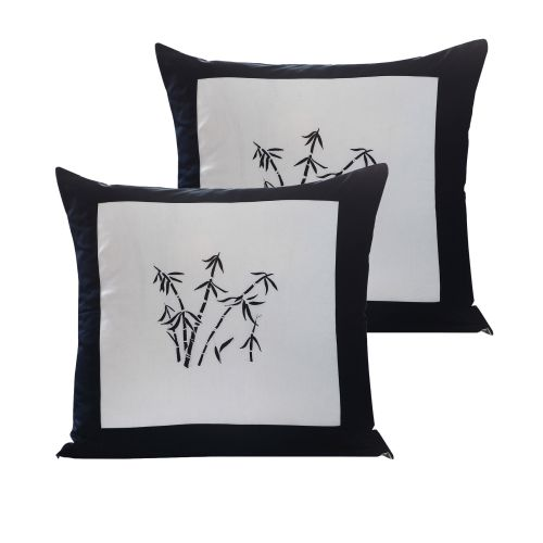 Pair of Zen Garden White European Pillowcases by Orient Sense