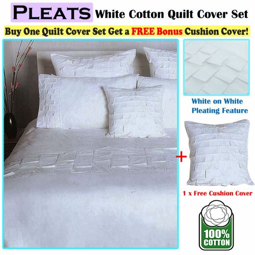 Pleats White Cotton Quilt Cover Set + 1 Free Bonus Cushion Cover by Accessorize