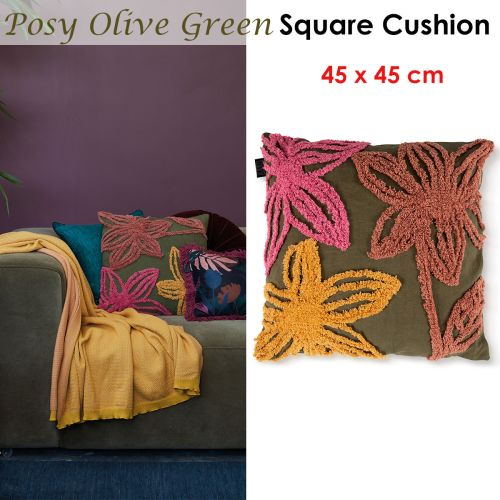 Posy Olive Green Filled Square Cushion by Bedding House