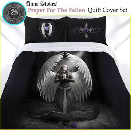 Prayer For The Fallen Quilt Cover Set by Anne Stokes