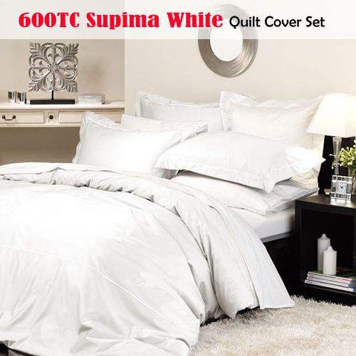 600TC Supima White Quilt Cover Set by Private Collection