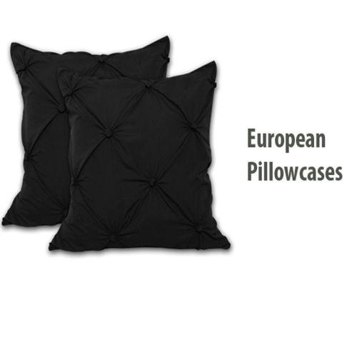 Puffy European Pillowcases x 2 Black